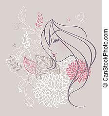 kwiatowy, kobieta, piękno
