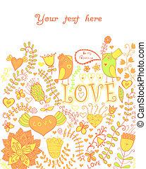 kwiatowy, kwiaty, motyle, pattern., karta