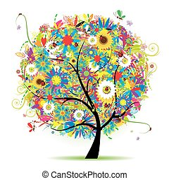 kwiatowy, lato, drzewo, piękny