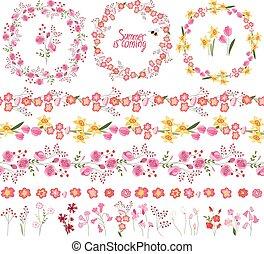 kwiatowy, lato, elementy