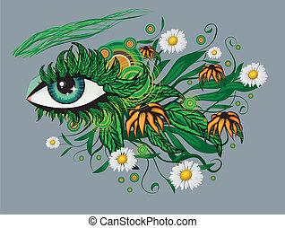kwiatowy, lato, oko