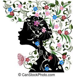 kwiatowy, motyl, dziewczyna, fryzura