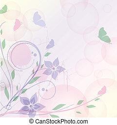 kwiatowy, motyle, karta