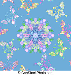 kwiatowy, motyle, Wektor, koronka,  seamless