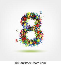 kwiatowy, osiem, projektować, liczba, twój