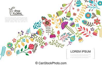 kwiatowy, płaski, barwny, szablon