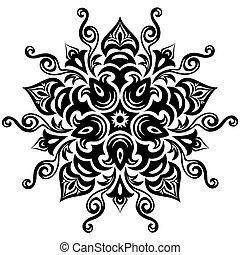 kwiatowy, pattern., mandala