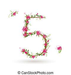 kwiatowy, piątka, projektować, liczba, twój