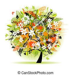 kwiatowy, piękny, drzewo