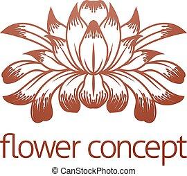 kwiatowy, pojęcie, projektować, kwiat, ikona