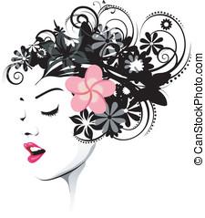 kwiatowy, różowy, fryzura, stokrotka