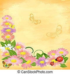 kwiatowy, róg, grunge, tło