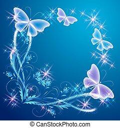 kwiatowy, róg, motyle, ozdoba