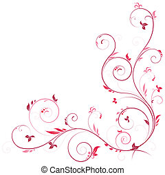 kwiatowy, róg, różowy, kolor