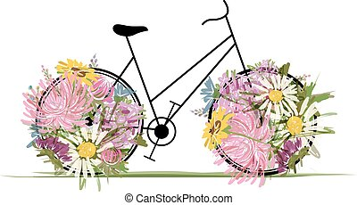 kwiatowy, rower, dla, twój, projektować