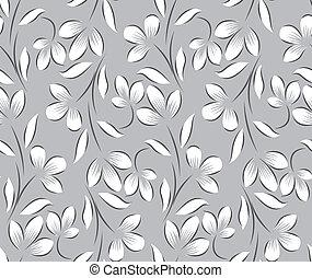 kwiatowy, seamless, tło, srebro