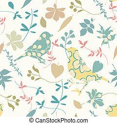 kwiatowy, seamless, z, ptaszki