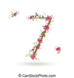 kwiatowy, siódemka, projektować, liczba, twój