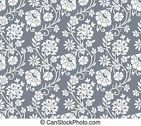 kwiatowy, srebro, tło, seamless