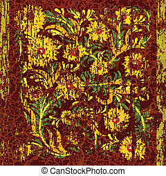 kwiatowy, starożytny, ozdoba, tło