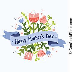 kwiatowy, szczęśliwy, dzień, powitanie, matczyny