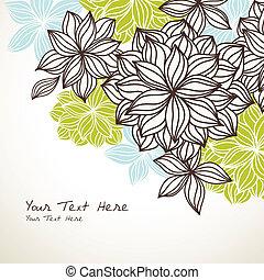 kwiatowy, tło, błękitny, róg, zielony