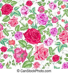 kwiatowy, tło, pattern., seamless, róże