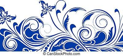 kwiatowy, tło, z, dekoracyjny, branch., wektor, illustration.
