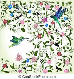 kwiatowy, tło, z, ptak