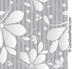 kwiatowy, tapeta, srebro, seamless