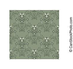 kwiatowy, tapeta, zielony, seamless