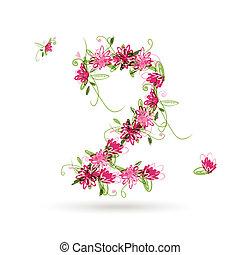 kwiatowy, twój, projektować, liczba dwie