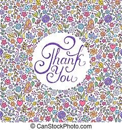 kwiatowy, ty, dziękować, karta