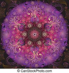 kwiatowy, ułożyć, okrągły, barwny