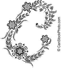 kwiatowy, uppercase, c, litera, monogram