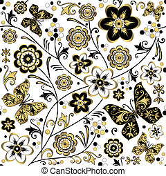 kwiatowy, (vector), próbka, biały, seamless
