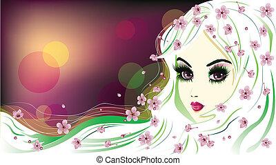 kwiatowy, włosy, dziewczyna, biały