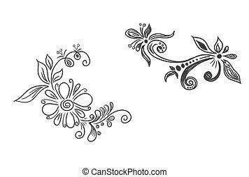 kwiatowy, wektor, elementy
