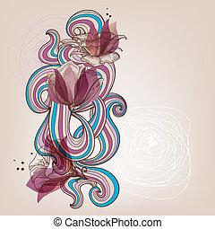kwiatowy, wektor, karta, ilustracja