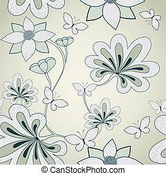 kwiatowy, wektor, pattern., seamless