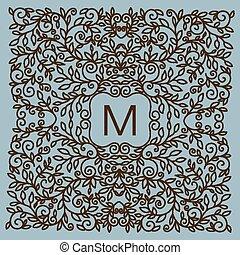 kwiatowy, wektor, ułożyć, z, kopiować przestrzeń, dla, tekst, w, modny, mono, lin