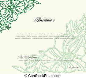 kwiatowy, wektor, zielone tło, design.