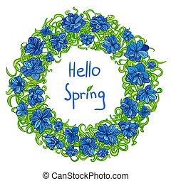 kwiatowy, wiosna, ułożyć, wieniec