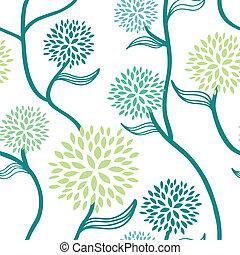 kwiatowy wzór, błękitna zieleń, biały