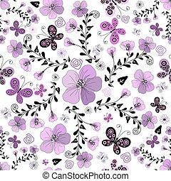 kwiatowy wzór, biały, seamless