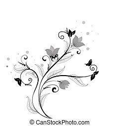 kwiatowy wzór, motyle