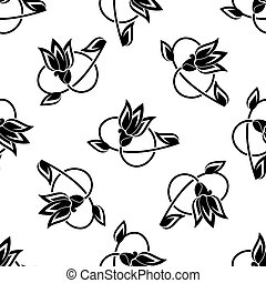 kwiatowy wzór, obracanie, seamless, tło