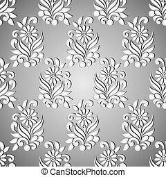 kwiatowy wzór, seamless, srebro