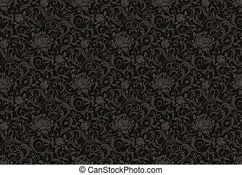 kwiatowy wzór, wektor, czarnoskóry, seamless