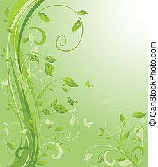kwiatowy, zielone tło